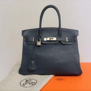 Hermes Birkin 30 Bag Blue de Presse Togo Leather